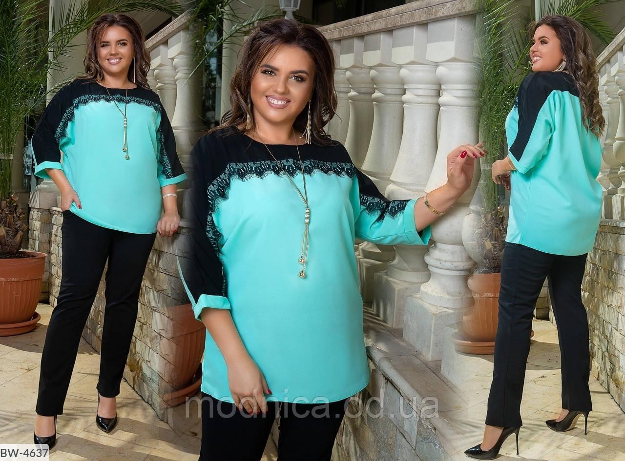 Нарядный женский костюм большого размера, размеры 50-52, 54-56, 58-60