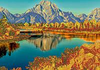 Схема на ткани для вышивания бисером Осень в горах КМР 3221