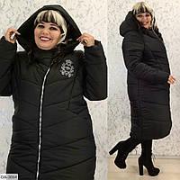 Зимнее женское пальто с капюшоном батал, размеры 52-54, 56-58