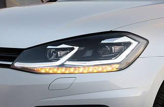 Передние фары VW Golf 7.5 (17-19) тюнинг Led оптика (поворот снизу)
