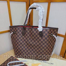 Сумка Louis Vuitton Neverfull Medium кожа, коричневая шахматка