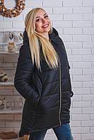Пальто зимнее с капюшоном черное, фото 1