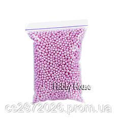 Шарики пенопластовые 4-6 мм,1000 мл,Розовые, для слаймов и декора.