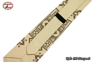 Вышитый бежевый галстук лён Восток, фото 3