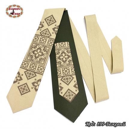 Вышитый бежевый галстук лён Восток, фото 2