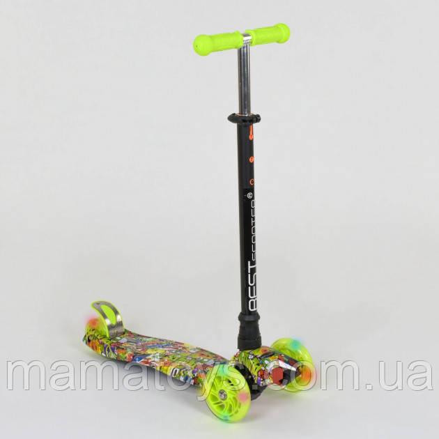 Детский трехколесный Самокат А 25534 /779-1332 Best Scooter Салатовый Макси Колеса PU, светятся