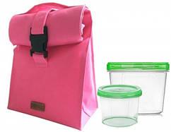 🔥✅  Термосумка для обеда с судочками Organize розовый LBag-Pink SKL34-176274