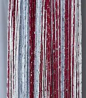Декоративные шторы-нити (кисея) с люрексом, 3х3 м., бордо-сталь-белый