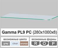 Стеклянная полка прямоугольная Commus PL9 PC (250х1000х8мм), фото 1