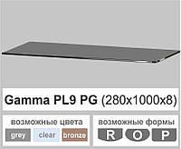 Стеклянные полки настенные навесные универсальные прямоугольная Commus PL9 PG (280х1000х8мм), фото 1