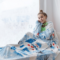 🔥✅  Рукоплед Плед с рукавами из микрофибры с рисунками 200х160 Снеговик SKL20-279481