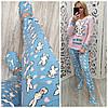Теплая женская пижама штаны + кофта + маска для сна + тапочки