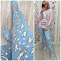 Теплая женская пижама штаны + кофта + маска для сна + тапочки, фото 1