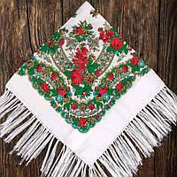 Хустка народна з бахромою (80х80) біло-зелена
