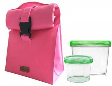 🔥✅Термосумка для обеда с судочками Organize розовый LBag-Pink SKL34-176274