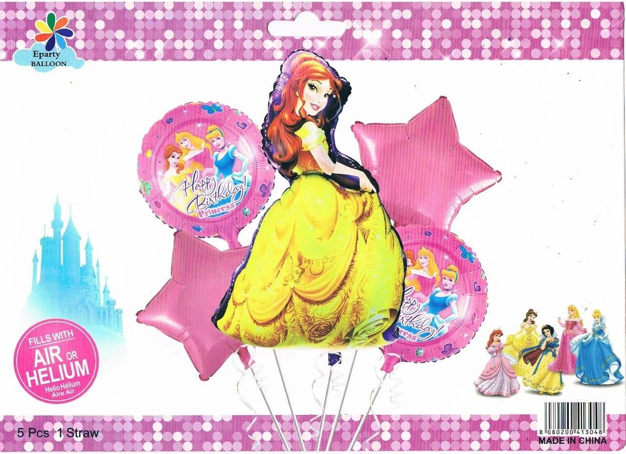 Набор фольгированных шаров Принцессы, 5 шт