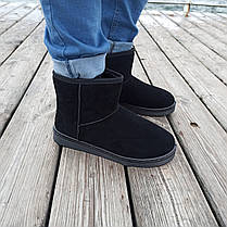Чорні чоловічі уггі UGG замша еко замшеві низькі короткі чоботи зимові черевики, фото 2