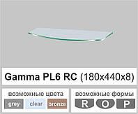 Полочка стеклянная настенная навесная радиусная Commus PL6 RC (180х440х8мм), фото 1
