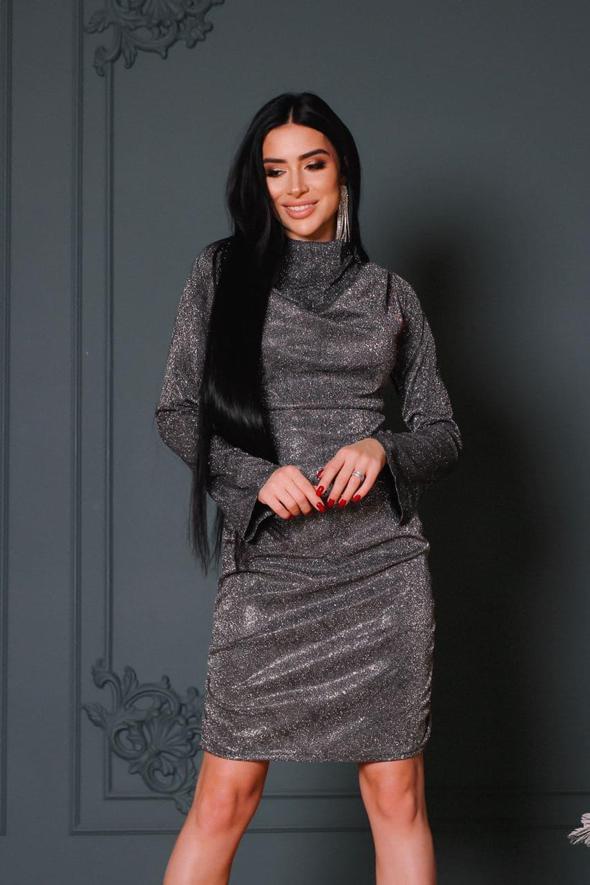 Женское блестящее нарядное платье со сборкой на груди