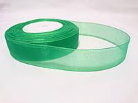 Лента органза зеленая 2,5см
