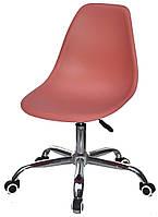 Стул Nik Office на колесах коричневый 92 с регулировкой высоты, дизайн Charles Eames в стиле лофт
