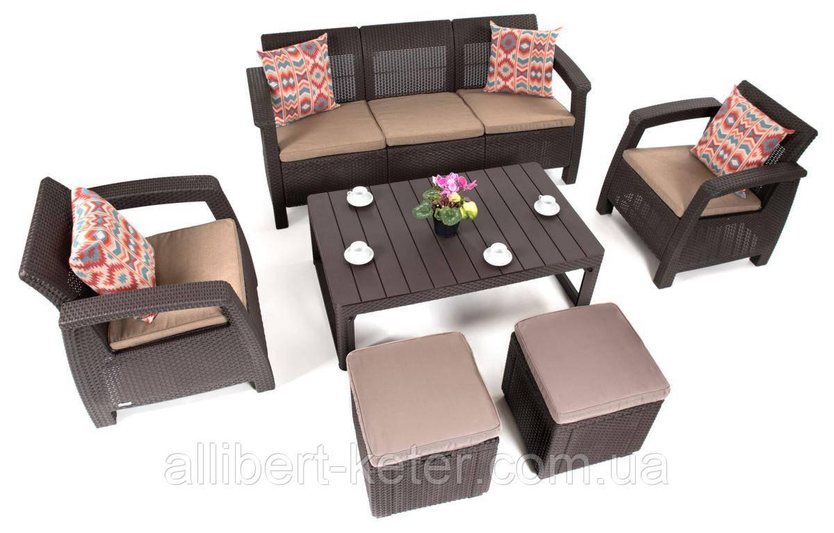 Комплект садовой мебели Allibert by Keter Corfu Club 3 Set Lyon Brown ( коричневый )