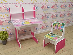 Дитяча парта-стіл растишка зі стільчиком від 3 років Травень Літл Поні 018 малинова