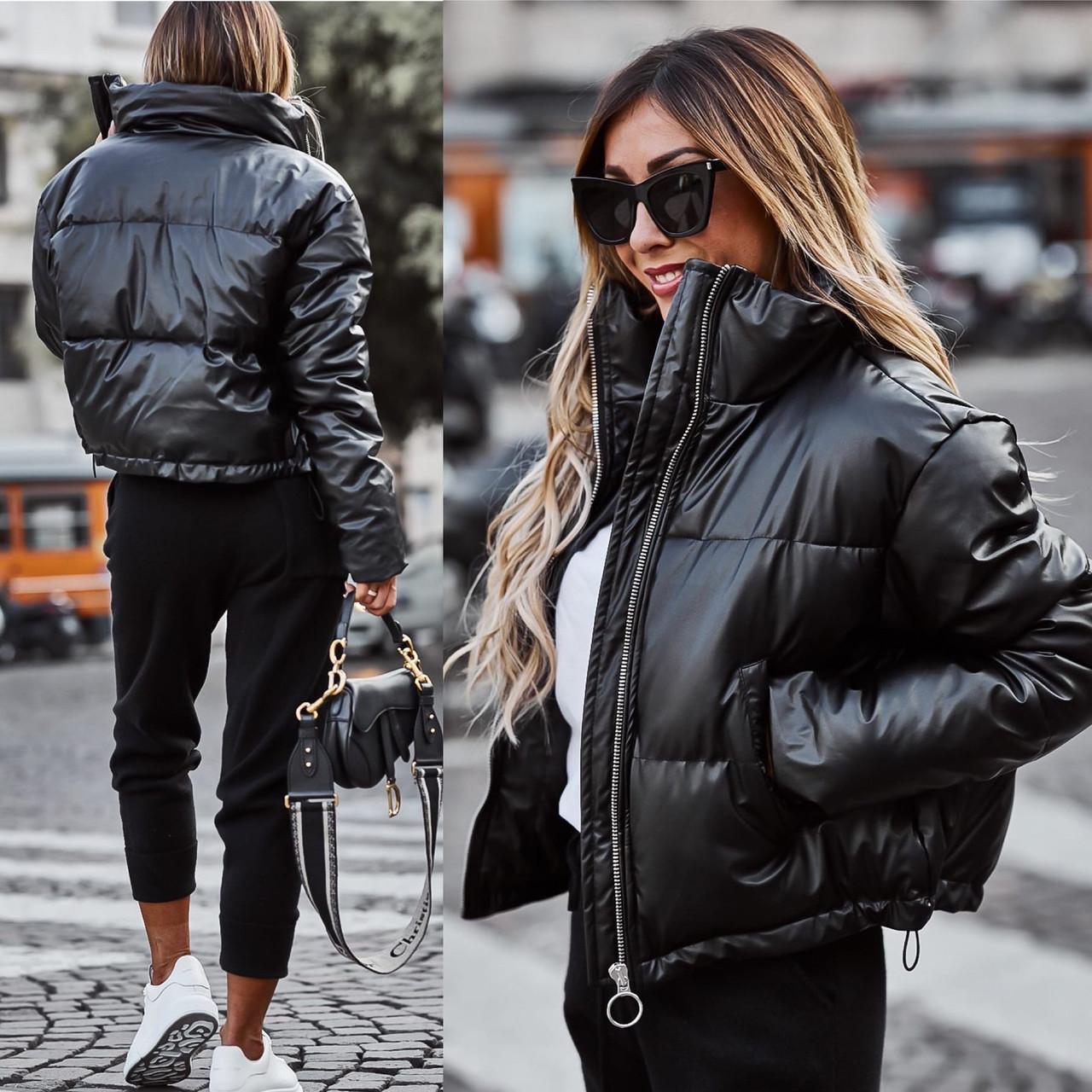 """Женская зимняя куртка в больших размерах """"Кожа Овер"""" в расцветках (66-2940)"""