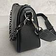 Сумка клатч с цепочкой и широким ремешком / натуральная кожа (348) Черный, фото 8