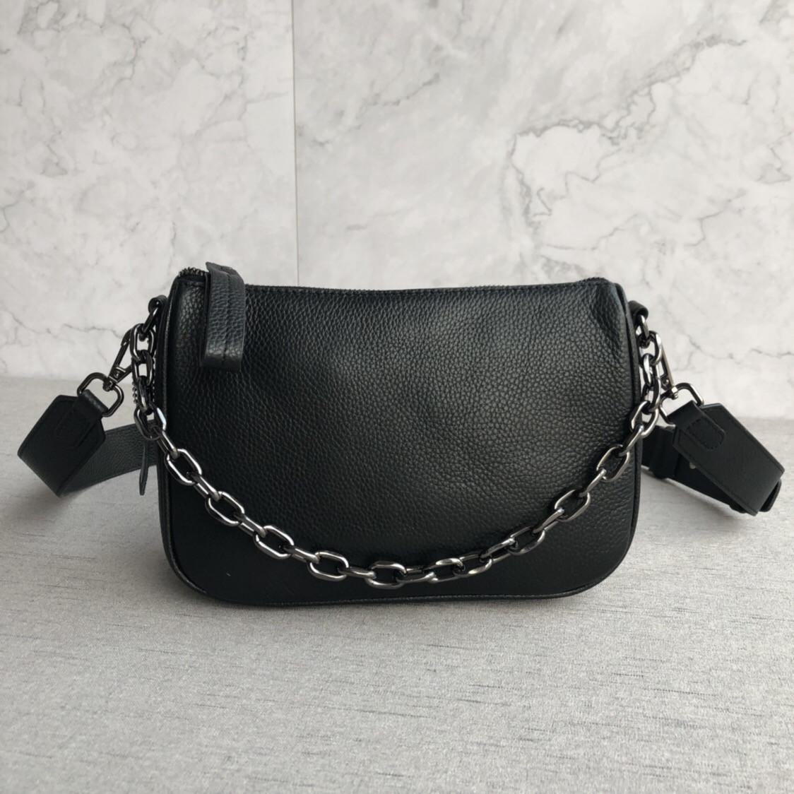 Сумка клатч с цепочкой и широким ремешком / натуральная кожа (348) Черный