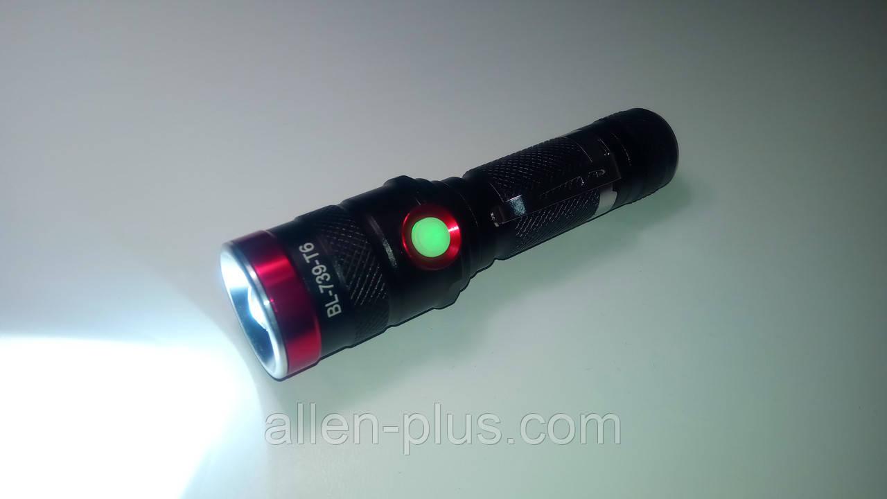 Ліхтар ручний BL-739-T6, акумулятор 18650, microUSB, zoom, плавне реєстр. яскравості