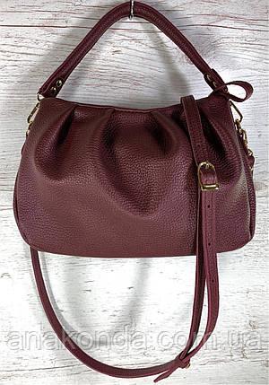 672-1 Натуральная кожа, бордовая сумка женская через плечо кожаная женская сумка бордовая мягкая, фото 2