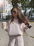 Женский теплый костюмчик из футера с супер объёмным худи и широкими штанами на резинке, фото 4