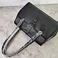 Большая сумка бочонок с ручками на плечо / натуральная кожа (349-L) Черный, фото 6