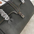 Большая сумка бочонок с ручками на плечо / натуральная кожа (349-L) Черный, фото 8