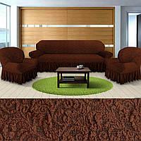 Где универсальные чехлы на диваны кресла накидки, чехол для дивана и кресла жаккардовые с оборкой Коричневый, фото 1