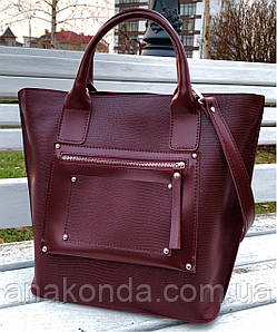 502 Натуральная кожа Женская сумка кожаная бордовая формат А4 Сумка из натуральной кожи вместительная 2020