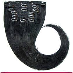 Натуральные Европейские Волосы на Заколках 50 см 160 грамм, Черный №01