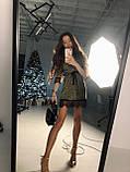 Женское  мини платье  с блестящим напылением с рюшами, фото 2