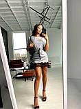 Женское  мини платье  с блестящим напылением с рюшами, фото 3
