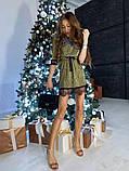 Женское  мини платье  с блестящим напылением с рюшами, фото 4