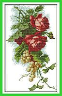 Розы и виноград  Набор для вышивки крестом канва 14 ст