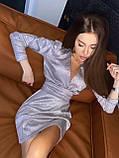 Женское коктейльное платье с пышными рукавами и глубоким декольте из мерцающей ткани, фото 3