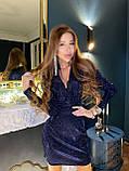 Женское коктейльное платье с пышными рукавами и глубоким декольте из мерцающей ткани, фото 6