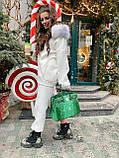 Женский  тёплый костюм с объемным худи на молнии и огромным капюшоном с опушкой, фото 2