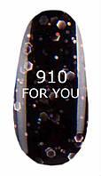 Гель-лак For You № 910 ( Черный, серебряные блестки ), 8 мл