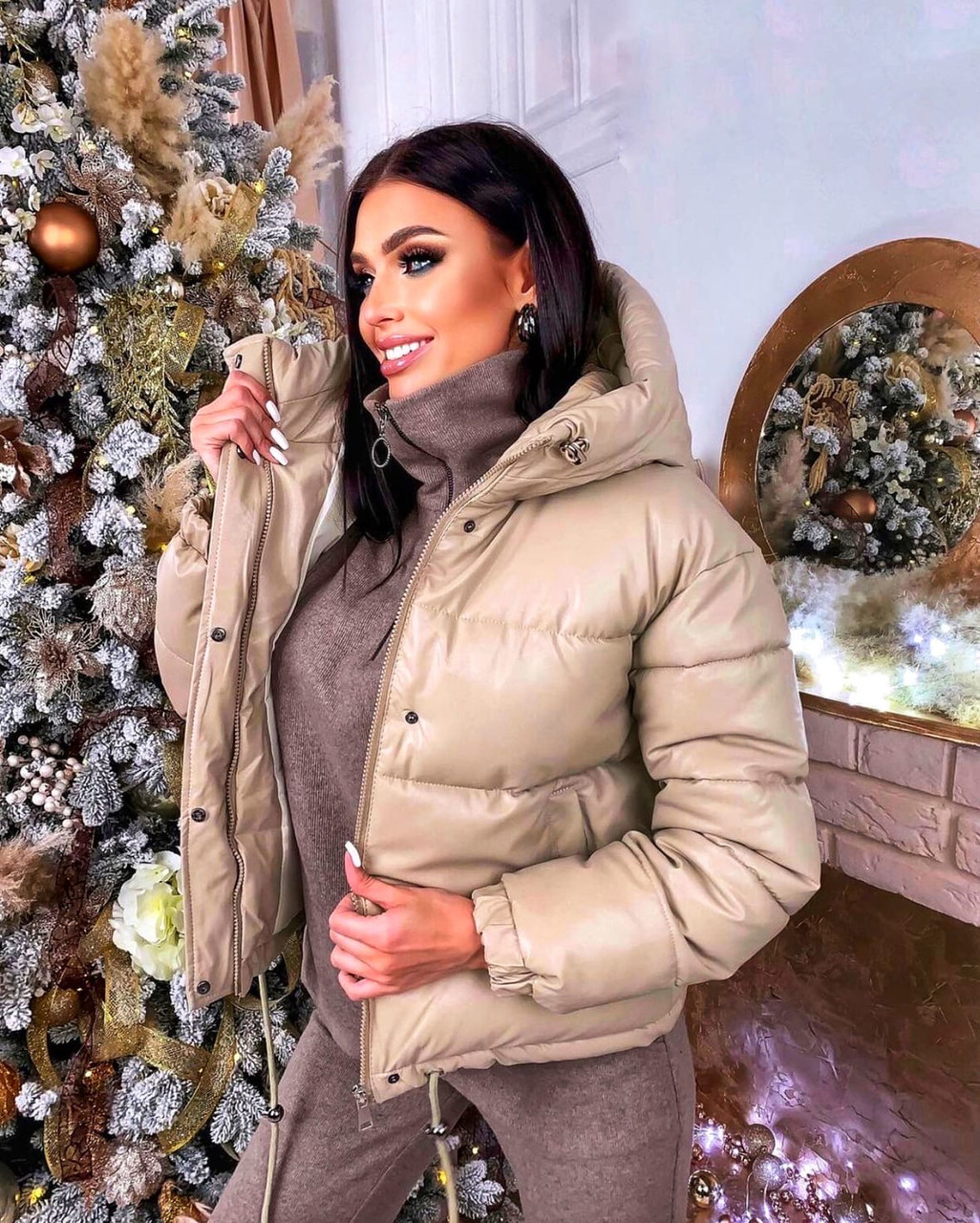 Куртка женская короткая из эко кожи