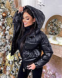 Куртка женская короткая из эко кожи, фото 3