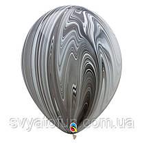 """Латексные воздушные шарики пастель 11"""" агат черно-белый 10шт Qualatex"""