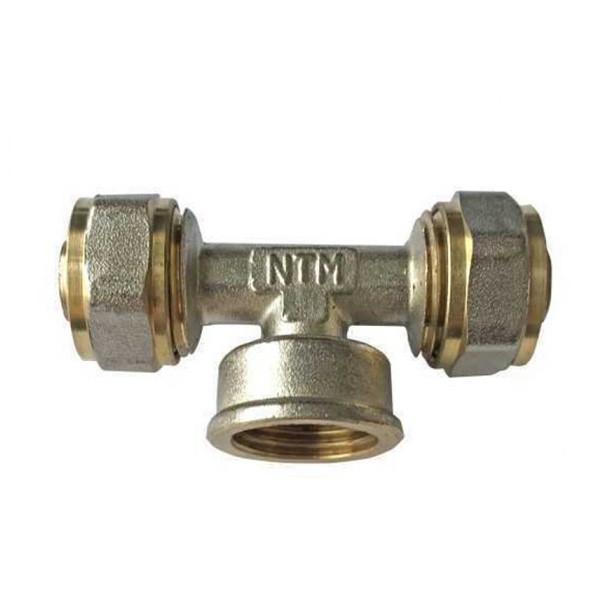 Трійник для металопластикової труби з внутрішнім різьбленням 20х1/2х20